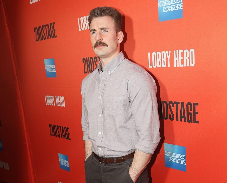 <p>This is a man who has tried nearly every hairstyle out there, and he manages to make them all look good. Captain America knows that there's no facial hair more all-American than a mustache. </p>