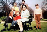 """<p>""""If I am asked what I think about family life after 25 years of marriage, I can answer with equal simplicity and conviction: I am for it,"""" <a href=""""http://www.mirror.co.uk/news/uk-news/prince-philip-quotes-the-queen-and-her-husband-1446365"""" rel=""""nofollow noopener"""" target=""""_blank"""" data-ylk=""""slk:said the Queen"""" class=""""link rapid-noclick-resp"""">said the Queen</a> a few years after taking this portrait with Philip and all four of their children: Princess Anne, Prince Charles, Prince Andrew, and Prince Edward.</p>"""