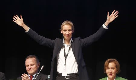 Alice Weidel of Germany's anti-immigration party Alternative for Germany (AFD) during an AFD party congress in Cologne Germany, April 23, 2017. REUTERS/Wolfgang Rattay