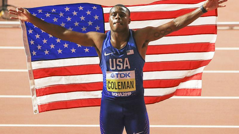 Christian Coleman, pictured here celebrating his 100m title.