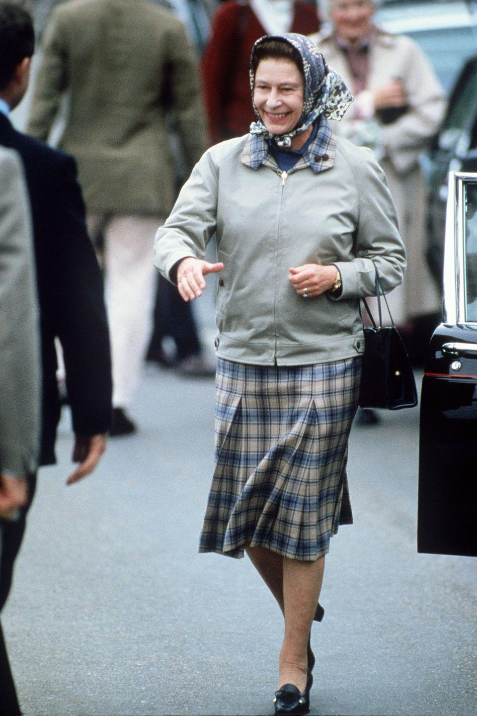<p>Queen Elizabeth typically matches the plaid on her skirt to the collar on her jacket, because why not?</p>