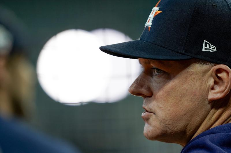 Houston Astros manager AJ Hinch watches during batting practice for Game 1 of the baseball World Series against the Washington Nationals Tuesday, Oct. 22, 2019, in Houston. (AP Photo/David J. Phillip)