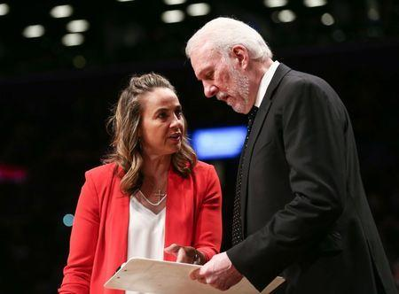 FILE PHOTO: Feb 25, 2019; Brooklyn, NY, USA; San Antonio Spurs head coach Gregg Popovich and assistant coach Becky Hammon in the first quarter against the Brooklyn Nets at Barclays Center. Mandatory Credit: Nicole Sweet-USA TODAY Sports