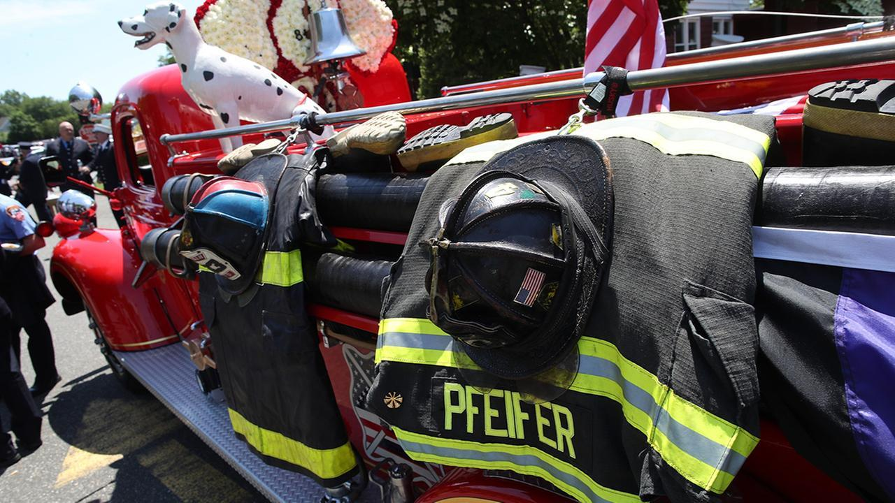 Jon Stewart joined family, friends and fellow firefighters at the service in Hicksville and spoke of the man he befriended while lobbying for health benefits for September 11 first responders.