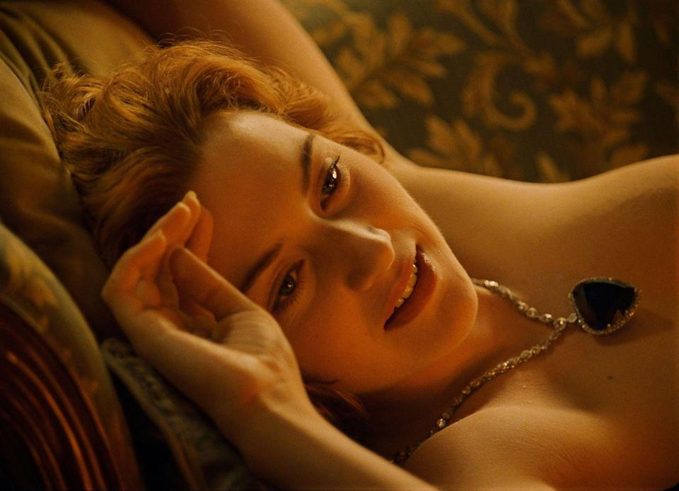 "<p>Her character Rose Dawson in the 1997 blockbuster <em>Titanic</em> famously wore the ""Heart of the Ocean"" diamond and sapphire necklace.</p>"