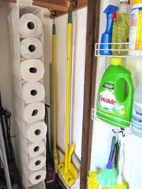 """<p>A hanging shelf system is the perfect size for paper towel rolls, giving you an easily accessible spot for your Costco haul. </p><p><a href=""""http://sewmanyways.blogspot.com/2014/08/organized-broom-closet.html"""" rel=""""nofollow noopener"""" target=""""_blank"""" data-ylk=""""slk:See more at Sew Many Ways »"""" class=""""link rapid-noclick-resp""""><em>See more at Sew Many Ways »</em></a></p>"""