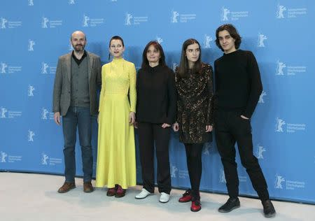 Actor Joao Pedro Vaz (L-R), actress Alice Albergaria Borges, director Teresa Villaverde, actress Clara Jost and actor Tomas Gomes pose during a photocall to promote the movie 'Colo' at the 67th Berlinale International Film Festival in Berlin, February 15, 2017. REUTERS/Axel Schmidt