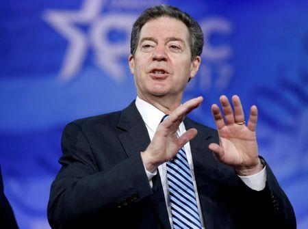 FILE PHOTO: Republican Governor Sam Brownback of Kansas, speaks during the Conservative Political Action Conference (CPAC) in National Harbor, Maryland, U.S., February 23, 2017.  REUTERS/Joshua Roberts/File Photo