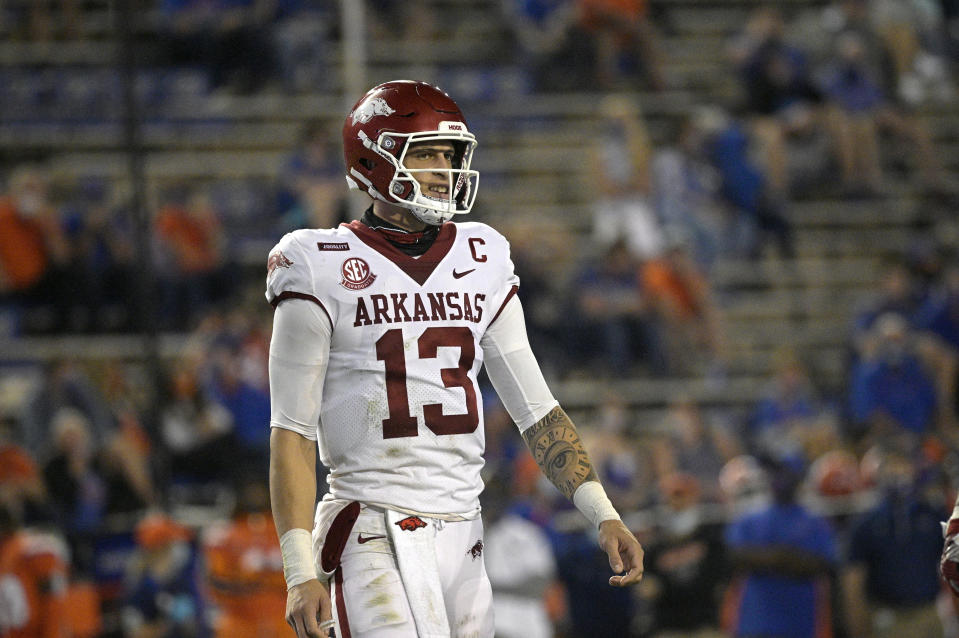 Arkansas quarterback Feleipe Franks has played well this season and could end up at the Senior Bowl. (AP Photo/Phelan M. Ebenhack)