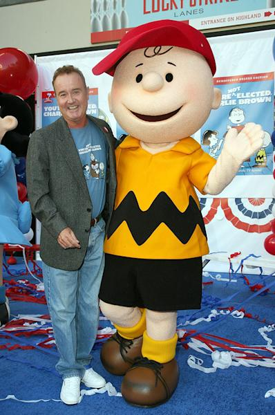 "LOS ANGELES, CA - OCTOBER 07:  Voice actor Peter Robbins and Charlie Brown attend Warner Home Video's DVD Release of ""You're Not Elected, Charlie Brown"" October 7, 2008 in Hollywood, California.  (Photo by Valerie Macon/Getty Images)"