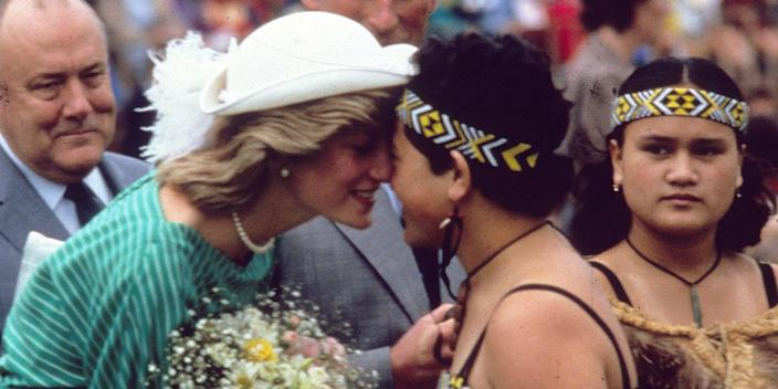 <p>The Princess of Wales greets a Maori woman at the Eden Park Stadium in Auckland, New Zealand.</p>