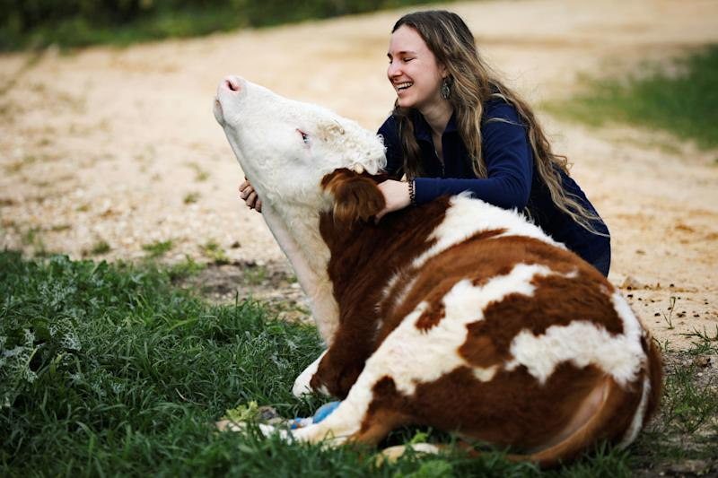 """A volunteer hugs Nir, a cow fitted with prosthetic leg at """"Freedom Farm"""", which serves as a refuge for mostly disabled animals in Moshav Olesh, Israel (Photo: Nir Elias/Reuters)"""