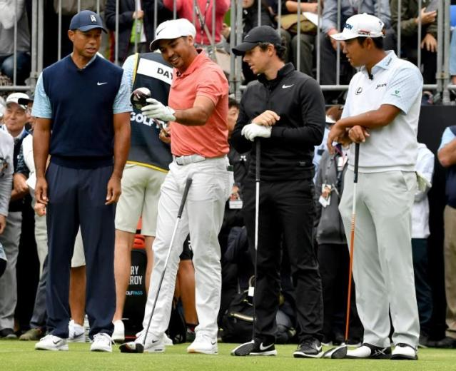 Knockabout stuff: From left, Tiger Woods, Jason Day, Rory McIlroy and Hideki Matsuyama at Accordia Golf in Japan on Monday (AFP Photo/Toshifumi KITAMURA)