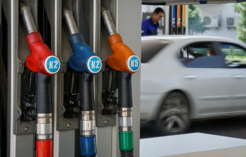 Fuel pump nozzles are pictured at Helios petrol station in Almaty