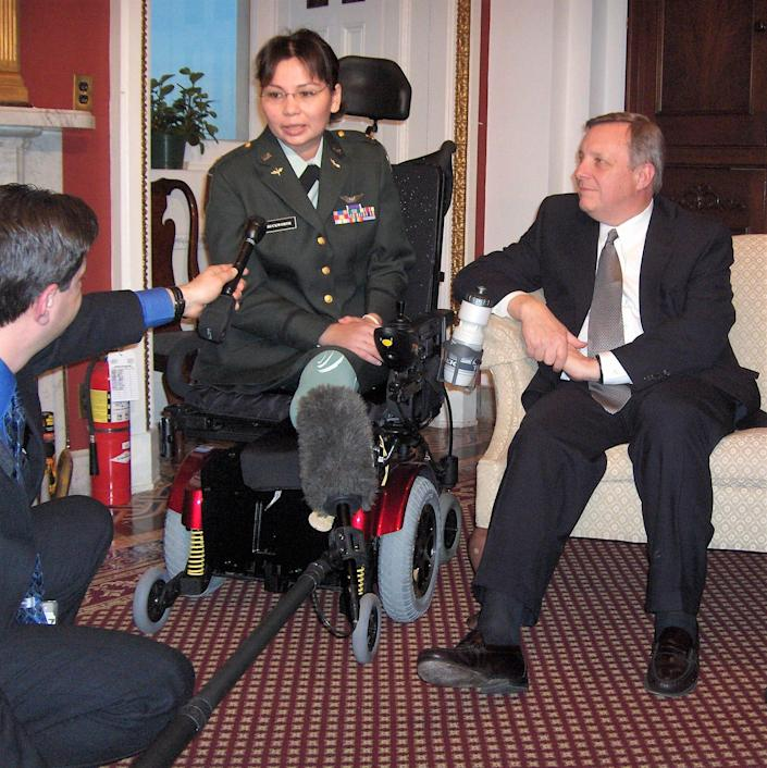 Tammy Duckworth was Illinois Sen. Dick Durbin's guest at the State of the Union address in 2005. Duckworth was still undergoing treatment for her war injuries. She concealed her IV line with a dress uniform to attend.