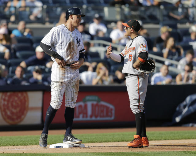 Aaron Judge is already recruiting future free agents to the Yankees. (AP Photo)