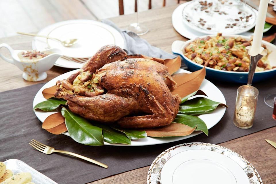 """<p>Bland, dry turkey officially becomes a thing of the past with this recipe.</p><p>Get the recipe from <a href=""""https://www.delish.com/holiday-recipes/thanksgiving/recipes/a44733/ranch-turkey-recipe-best-thanksgiving-turkey-rub/"""" rel=""""nofollow noopener"""" target=""""_blank"""" data-ylk=""""slk:Delish"""" class=""""link rapid-noclick-resp"""">Delish</a>.</p>"""