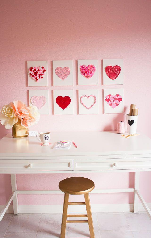 """<p>Instead of investing in pricey seasonal decor, add pom-poms, stickers, and lace doilies to blank canvases. </p><p><em><a href=""""https://designimprovised.com/2015/01/heart-art.html"""" rel=""""nofollow noopener"""" target=""""_blank"""" data-ylk=""""slk:Get the tutorial at Design Improvised »"""" class=""""link rapid-noclick-resp"""">Get the tutorial at Design Improvised » </a></em></p>"""