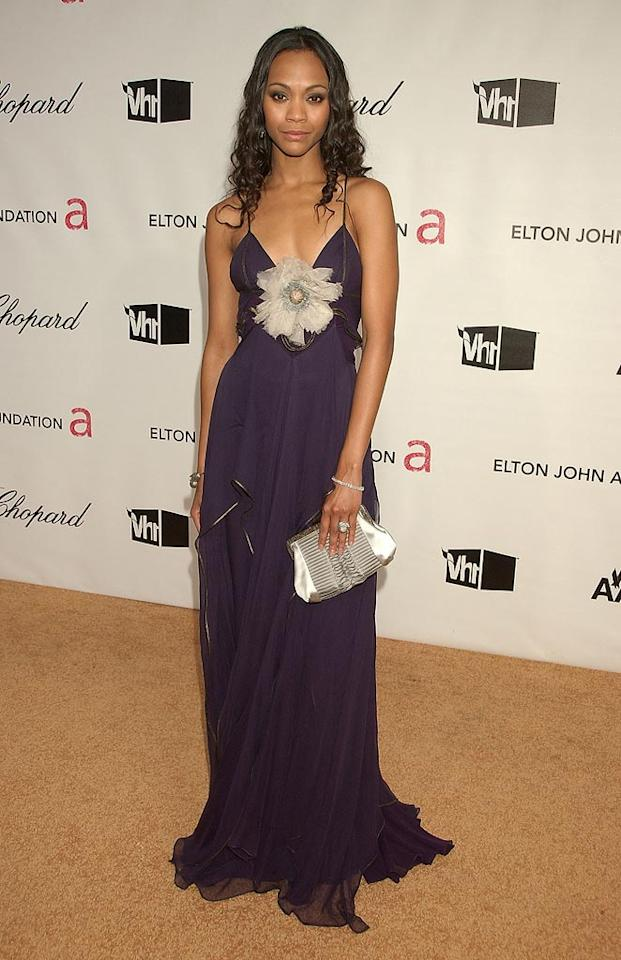 """<a href=""""http://movies.yahoo.com/movie/contributor/1800362233"""">Zoe Saldana</a> attend the 16th Annual Elton John AIDS Foundation Oscar Party at the Pacific Design Center in West Hollywood - 02/24/2008"""