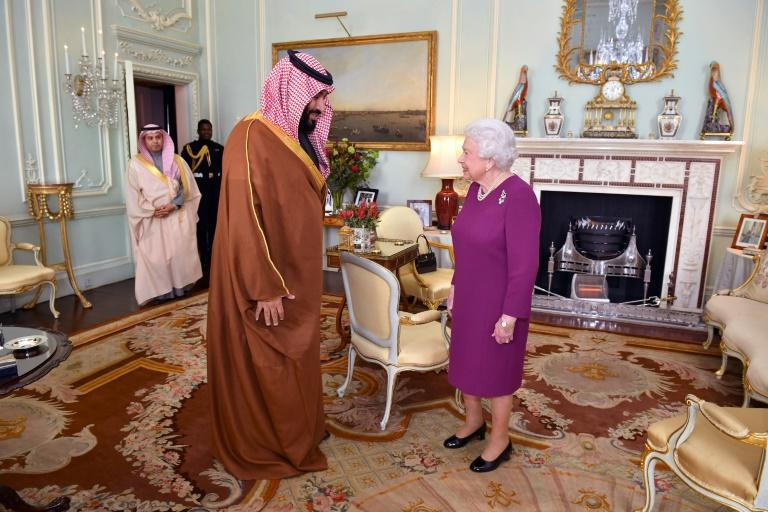 Britain's Queen Elizabeth II greeted Saudi Arabia's Crown Prince Mohammed bin Salman at Buckingham Palace