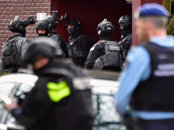 Special task forces of the police patrol in Trumanlaan (Truman avenue) area in Utrecht (AFP/Getty Images)