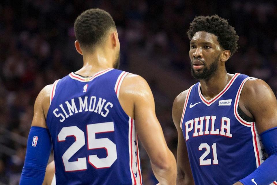 The Sixers hope the partnership between Ben Simmons and Joel Embiid bears championship fruit in the future. (Getty Images)