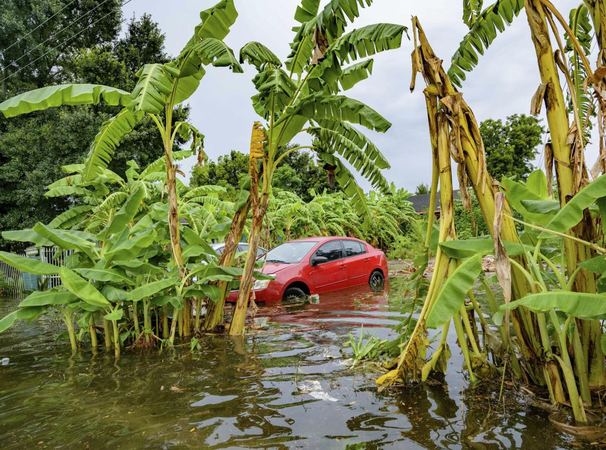 Flooding comes up the wheels of a parked car on Belfast Street near Eagle Street in New Orleans July 10, 2019 after flooding from a 100-year storm from a tropical wave system in the Gulf Mexico dumped lots of rain. (Photo: Matthew Hinton/AP)