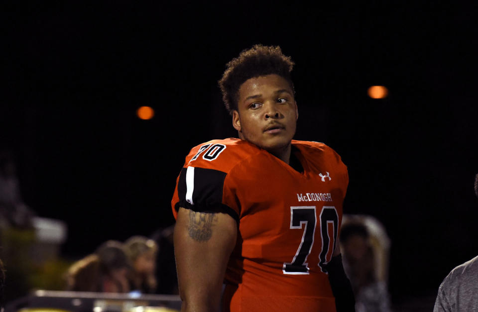 In a September 16, 2016, file image lineman Jordan McNair of McDonogh High School. McNair died on Wednesday, June 13, 2018, two weeks after collapsing during a University of Maryland football team workout. (Barbara Haddock Taylor/Baltimore Sun/Tribune News Service via Getty Images)