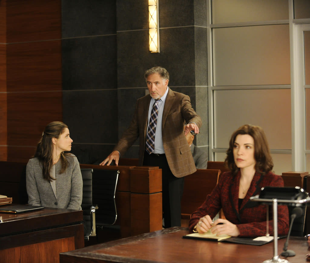 "Alicia (Julianna Margulies) and Laura Hellinger (Amanda Peet) argue whether or not Judge Creary (Judd Hirsch) should be removed from hearing a case in ""Here Comes the Judge,"" the eighth episode of ""The Good Wife"" Season 4."