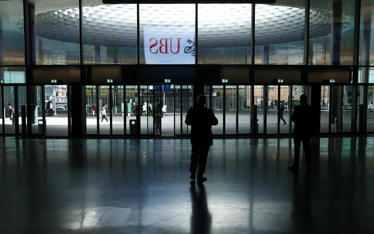General view of the entrance for UBS shareholders prior to the annual general meeting of UBS AG in Basel