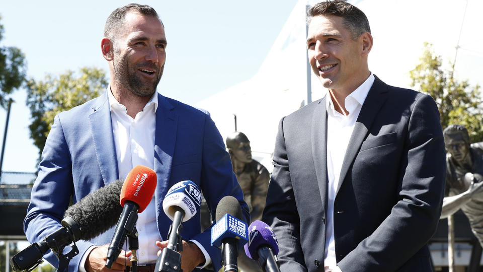 Cameron Smith and fellow Melbourne Storm great Billy Slater had statues of themselves unveiled at Melbourne's AAMI Park on Wednesday. (Photo by Darrian Traynor/Getty Images)