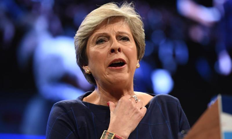 Theresa May delivers her keynote speech at the party conference in Manchester.