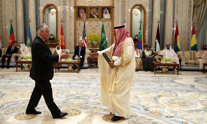 """<span class=""""element-image__caption"""">US secretary of state Rex Tillerson meets with then-Saudi Crown Prince Muhammad bin Nayef in May. Tillerson has warned the Gulf states to make their demands of Qatar 'reasonable and actionable'.</span> <span class=""""element-image__credit"""">Photograph: Evan Vucci/AP</span>"""