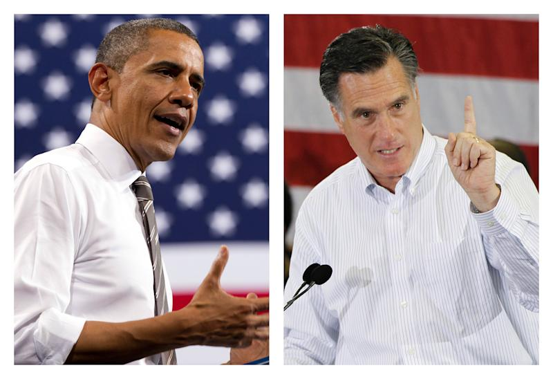 FILE - This combination of 2012 file photos shows U.S. President Barack Obama, left, and Republican presidential candidate Mitt Romney in Boulder, Colo. and Cape Canaveral, Fla. How unthinkable it was, not so long ago, that a presidential election would pit a candidate fathered by an African against another condemned as un-Christian. And yet, here it is: Barack Obama vs. Mitt Romney, an African-American and a white Mormon, representatives of two groups and that have endured oppression to carve out a place in the United States. How much progress has America made against bigotry? (AP Photo/Carolyn Kaster, Charles Dharapak)