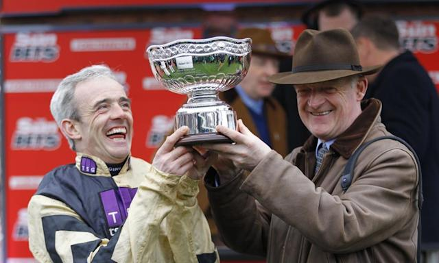 "<span class=""element-image__caption"">Ruby Walsh and Willie Mullins cannot hide their delight after Nichols Canyon had won the Stayers' Hurdle at Cheltenham. </span> <span class=""element-image__credit"">Photograph: racingfotos/Rex/Shutterstock</span>"