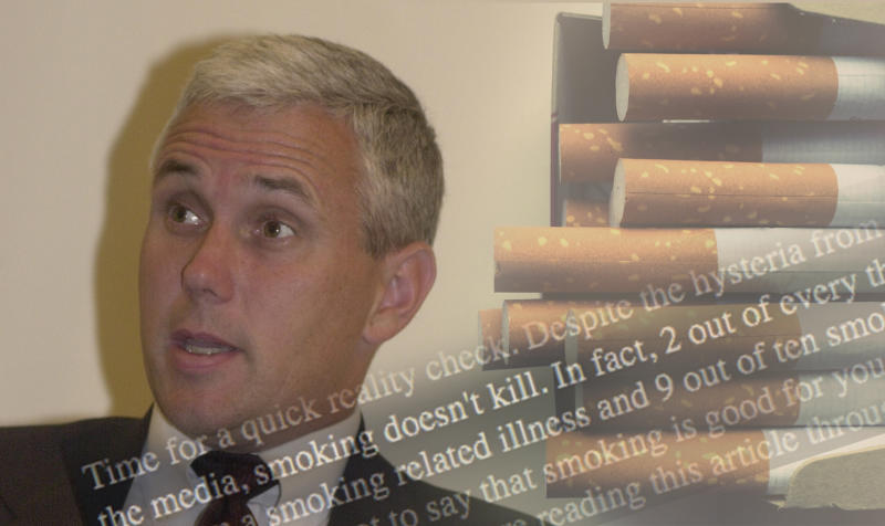 Mike Pence in 2000 and part of his statement from his 2000 campaign website regarding cigarette smoking. (Photo illustration: Yahoo News, photos: Tom Williams/Roll Call/Getty Images, Getty Images)