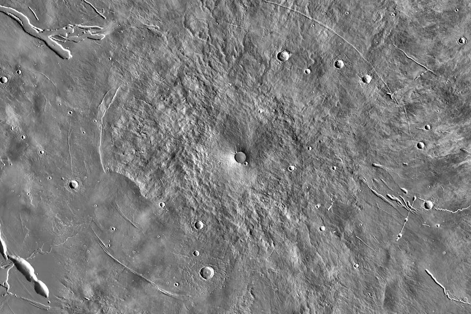 A photo provided by NASA shows an infrared image mosaic of the Elysium Mons volcano taken by the Mars Odyssey spacecraft in 2001. (NASA/JPL-Caltech/Arizona State University via The New York Times)