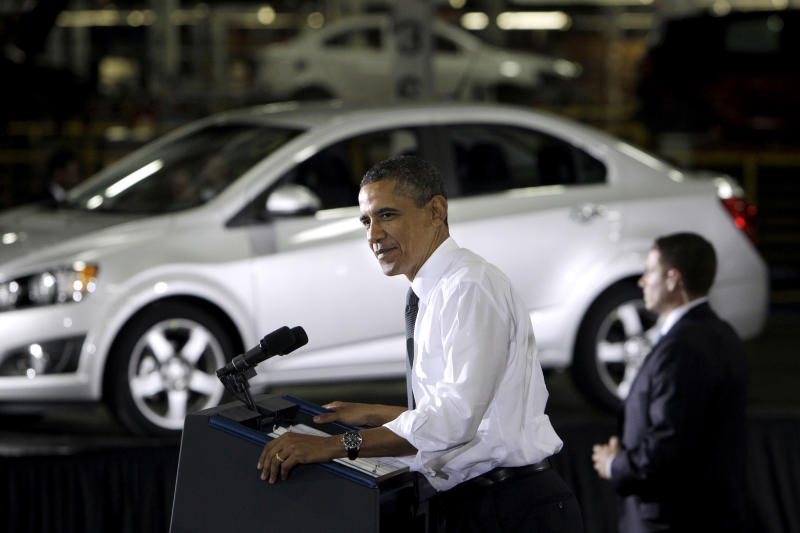 FILE - In this Friday, Oct. 14, 2011, file photo, President Barack Obama speaks at the General Motors Orion assembly plant in Orion Township, Mich. The U.S. government said Wednesday, Dec. 19, 2012, that it will sell its remaining stake in General Motors in the next year or so, winding down a $50 billion bailout that saved the iconic American car giant but also set off a heated debate about government intervention in private business that influenced this year's presidential election. (AP Photo/Carlos Osorio, File)