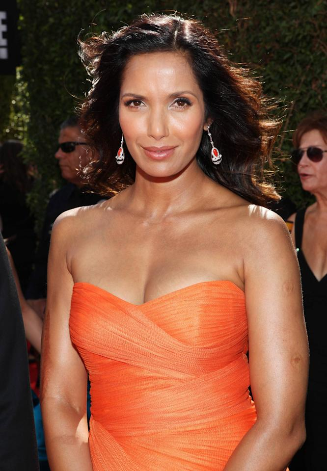 PADMA LAKSHMI 64th Annual Primetime Emmy Awards, held at Nokia Theatre L.A. Live - Red Carpet Arrivals Los Angeles, California - 23.09.12***NOT FRONT PAGE USAGE*** Mandatory Credit: B.Dowling/WENN.com