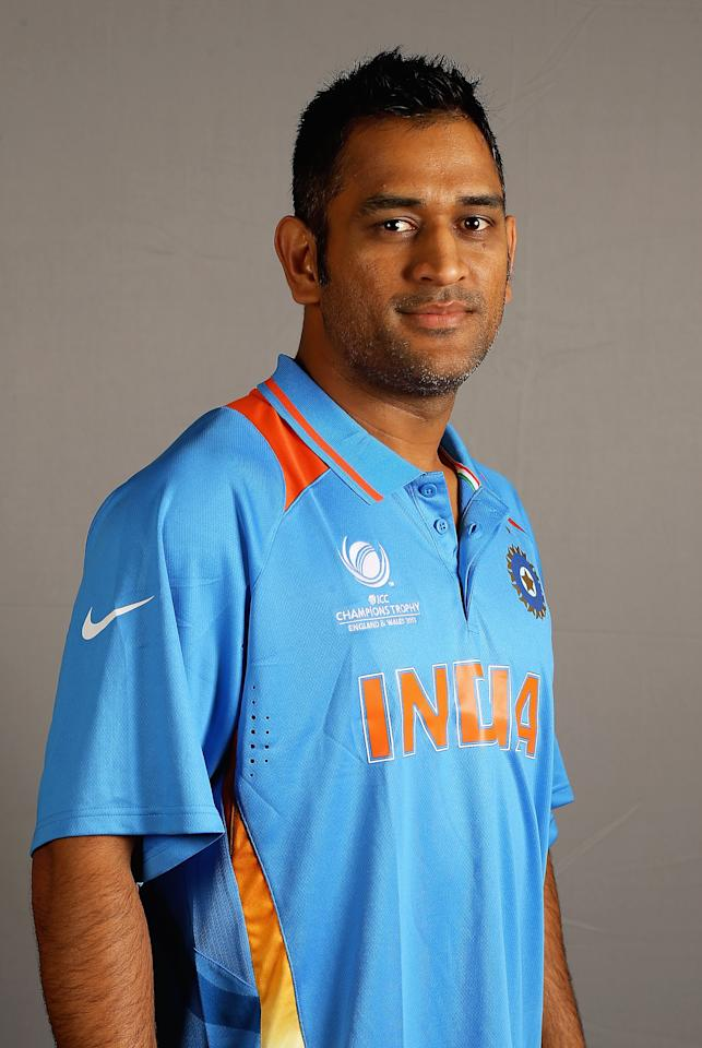BIRMINGHAM, ENGLAND - MAY 30:  MS Dhoni of India poses during an India Portrait Session at the Hyatt Hotel ahead of the ICC Champions Trophy at Edgbaston on May 30, 2013 in Birmingham, England.  (Photo by Matthew Lewis-ICC/ICC via Getty Images)