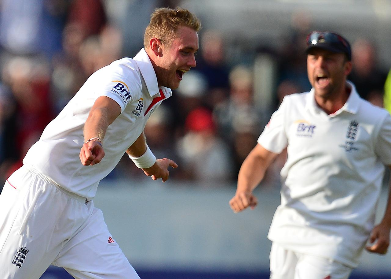 England's Stuart Broad celebrates the wicket of Australia's Ryan Harris during day four of the Fourth Investec Ashes test match at the Emirates Durham ICG, Durham.