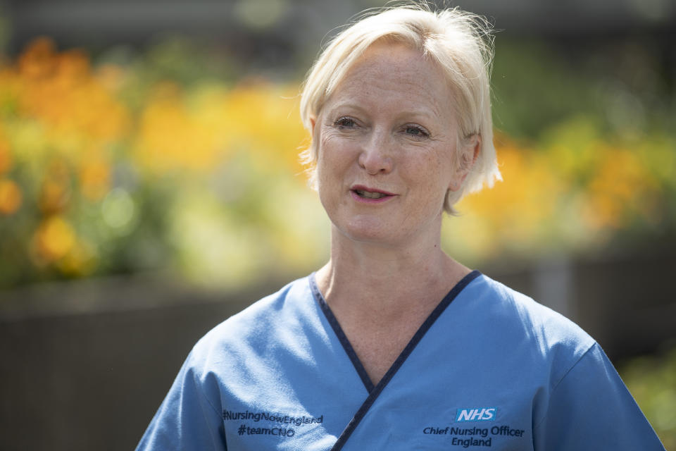 Chief Nursing Officer for England Ruth May outside St Thomas's Hospital in central London on International Nurses Day.