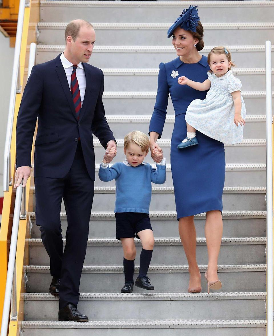 <p>Duchess Kate's blue Jenny Packham dress and maple leaf brooch coordinated with her family as they began their eight-day tour in Canada.</p>
