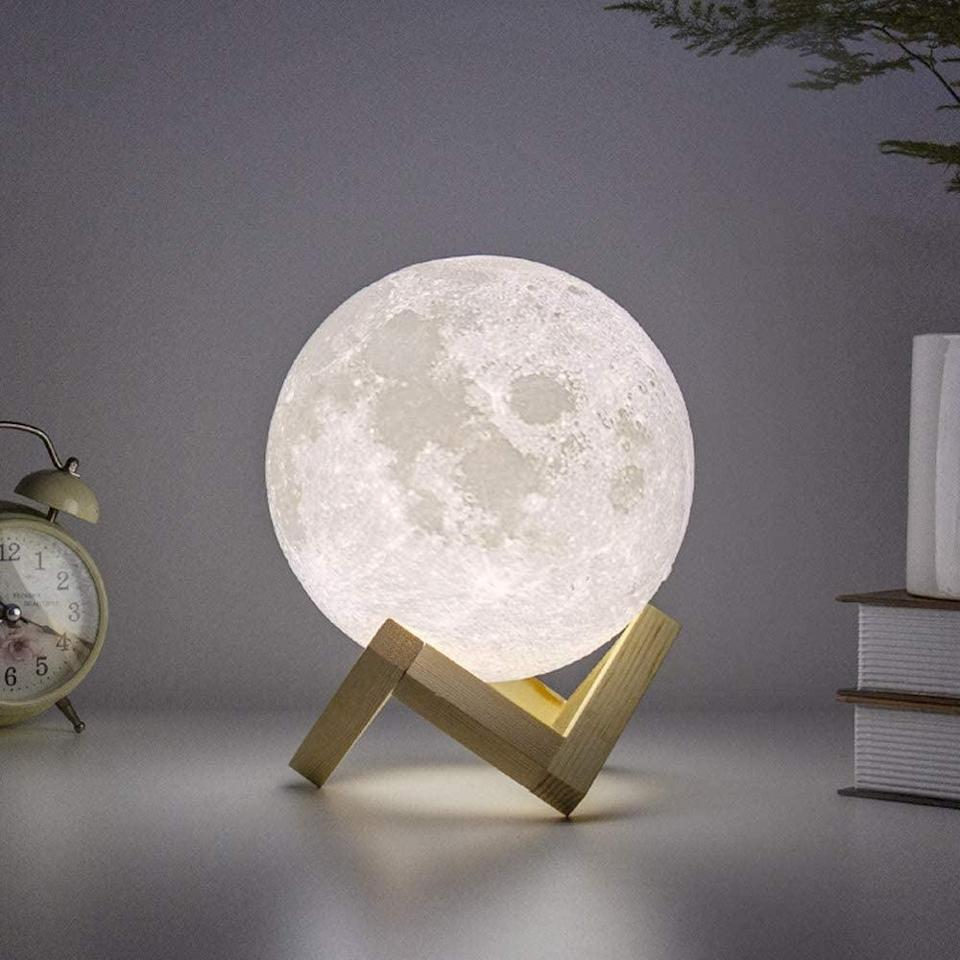 <p>How cool is this <span>BRIGHTWORLD Moon Lamp</span> ($30)?! You can choose between warm and cool-toned light.</p>