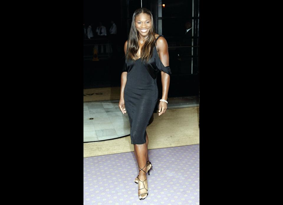 Looking super chic in black for the Wimbledon Ball at Savoy Hotel in London.