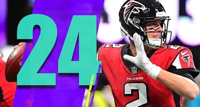 <p>Matt Ryan is on pace for 4,922 yards, 34 touchdowns, seven interceptions and a 107.6 passer rating. No quarterback in NFL history, with a minimum of four starts, has ever posted a 105 rating on a losing team. (Matt Ryan) </p>