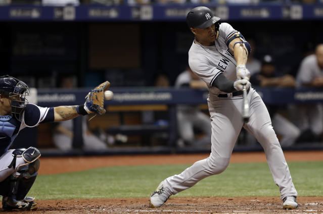 New York Yankees' Giancarlo Stanton strikes out against Tampa Bay Rays pitcher Ryne Stanek during the sixth inning of a baseball game Saturday, June 23, 2018, in St. Petersburg, Fla. (AP Photo/Chris O'Meara)