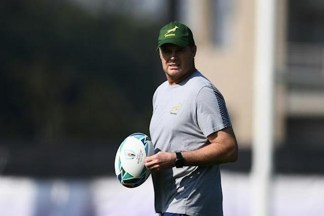 South Africa coach Rassie Erasmus is hoping to repeat the pattern of World Cup wins every 12 years (AFP Photo/CHARLY TRIBALLEAU)