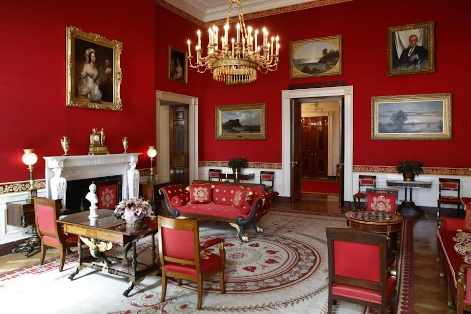 The fabric on the walls of the Red Room was refurbished during the Trump administration.