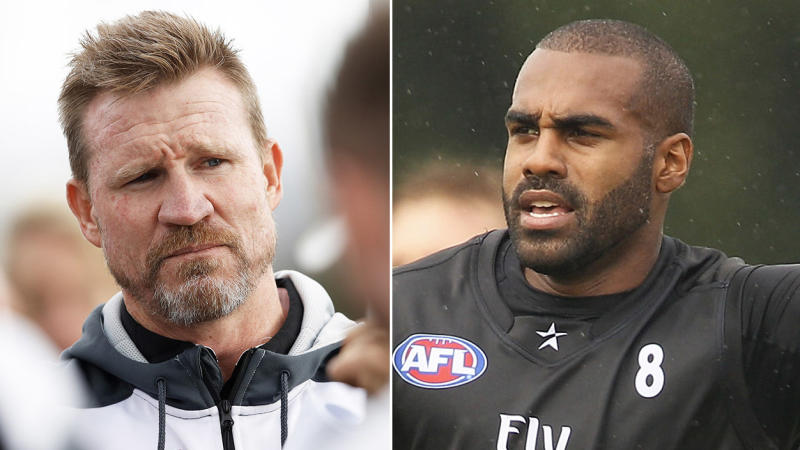 Heritier Lumumba (pictured right) running in training and Magpies coach Nathan Buckley (pictured left) speaking to the media.